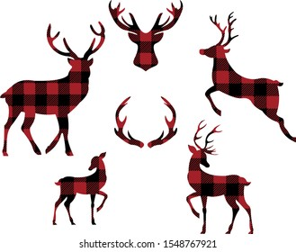 Buffalo plaid christmas decorative elements vector illustration