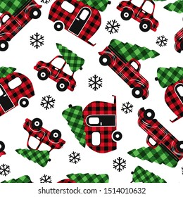 Buffalo Plaid Christmas transport . Red truck, camper and car. Festive seamless pattern on a white background. Vector illustration. Country style.