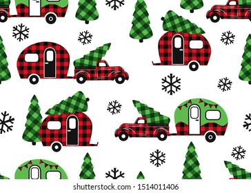 Buffalo Plaid Christmas transport . Red truck and camper . Festive seamless pattern on a white background. Vector illustration. Country style.