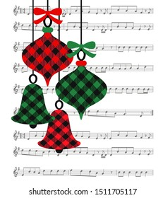 Buffalo plaid Christmas tree toys on the background of the music page. Festive vector illustration. Musical card.