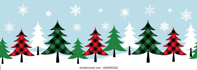 Buffalo plaid Christmas trees seamless pattern. Designer Ribbon.Various Christmas trees on white snow. Vector illustration.