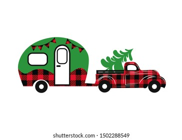 Buffalo plaid Christmas truck with camper.  Vector illustration. Country Christmas style. Isolated design element on a white background.