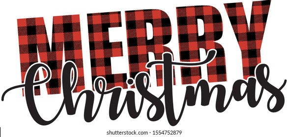 Buffalo Plaid Merry Christmas Vector text cutting files Christmas Quote illustration Red and Black Merry christmas stock file Christmas Lettering Design Usable for banners ,gift