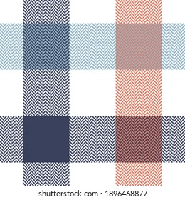Buffalo plaid pattern in blue, orange, white. Herringbone textured seamless light tartan check plaid for flannel shirt, tablecloth, blanket, or other modern spring summer fashion textile design.