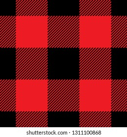 Buffalo plaid pattern in red & black. Pixel weave texture. Flannel shirt or dress buffalo check pattern background vector illustration.