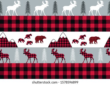 Buffalo plaid seamless pattern. She-bear with cubs, mountains, fir-trees and moose on a striped and checkered background. Forest vector illustration.