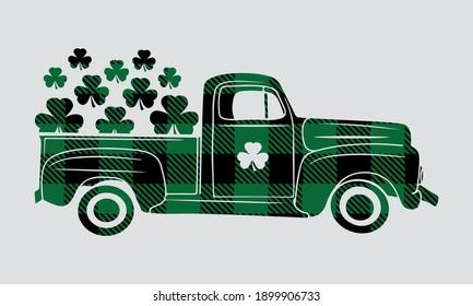 Buffalo Plaid Shamrock  market Truck - St patricks Vector and Clip Art