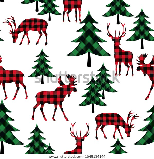 Buffalo plaid woodland seamless pattern. Checkered animals (deer, moose) and  fir trees on a white background. Lumberjack vector illustration.