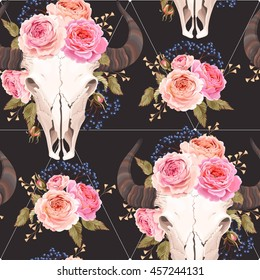 Buffalo skull decorated with flowers seamless