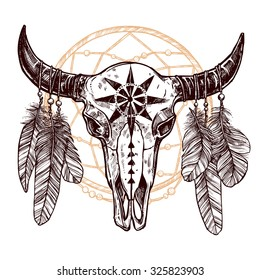 Buffalo Skull With Feathers And Dreamcatcher. Hand Drawn Sketch. Native American Totem