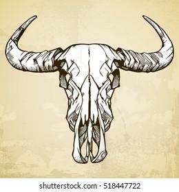 Buffalo Skull Native American Totem.  Vintage bohemian style. Vector illustration.