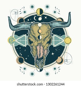 Buffalo skull. Tattoo and t-shirt design. Native American bull skull symbol of secret knowledge. Shamanism. Soul of prairies