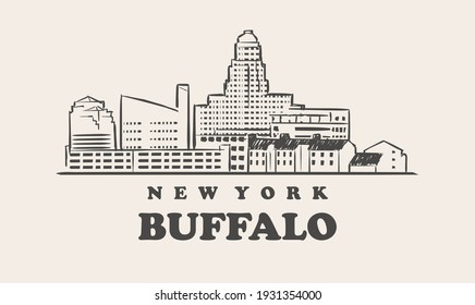 Buffalo skyline, new york. Buffalo hand drawn sketch