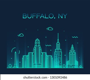 Buffalo skyline, New York, USA. Trendy vector illustration, linear style
