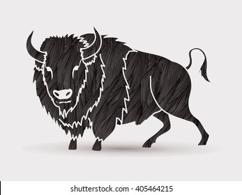 Buffalo standing designed using black grunge brush graphic vector.