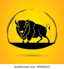 Buffalo standing designed using grunge brush graphic vector.
