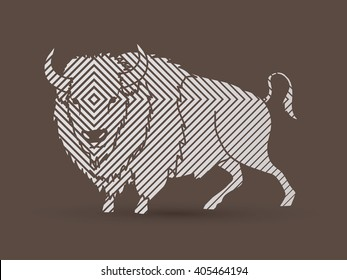 Buffalo standing designed using line square graphic vector.