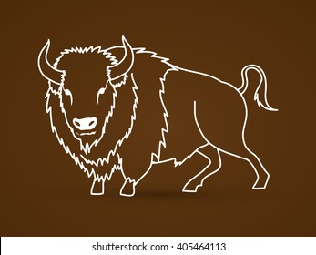 Buffalo standing outline graphic vector.