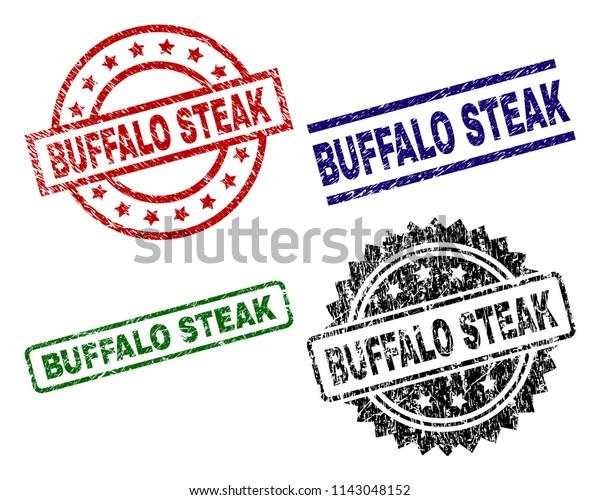 Buffalo Steak Seal Prints Distress Surface Stock Vector