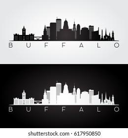 Buffalo USA skyline and landmarks silhouette, black and white design, vector illustration.