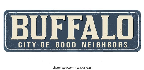 Buffalo vintage rusty metal sign on a white background, vector illustration