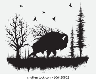 Buffalo walking in the forest.Hand drawn vector illustration