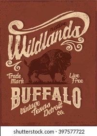 Buffalo. Western. Vintage buffalo graphic. T-shirt graphic design.