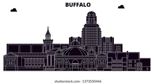 Buffalo,United States, vector skyline, travel illustration, landmarks, sights.