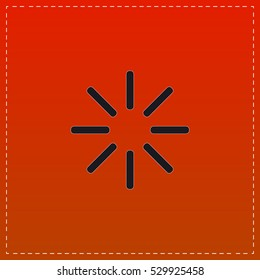 Buffering Icon Vector. Black flat button on red background