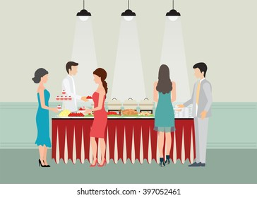 Buffet Dinner Dining Food Celebration Party, Buffet table with many food, roasted Turkey, salad, spaghetti, lobster and fruit, vector illustration.
