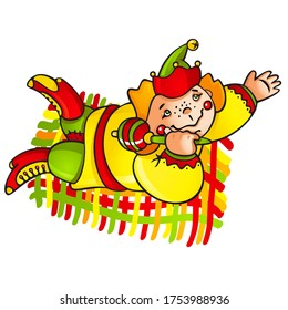 Buffoon on the rug, happy cheerful Slavic skomorokh, vector illustration 10eps