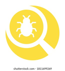 Bug finder white glyph with color background vector icon which can easily modify or edit