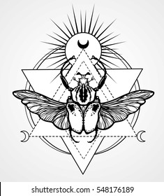 Bug Goliath. Esoteric symbol, sacred geometry. Monochrome drawing isolated on a grey background. Vector illustration. Print, posters, t-shirt, textiles.