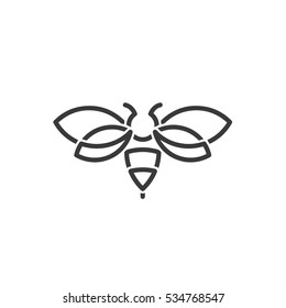 bug Hornet illustration of in the style contemporary design sign drawn in minimalism vector