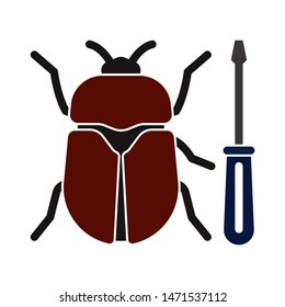 bug icon. flat illustration of bug - vector icon. bug sign symbol