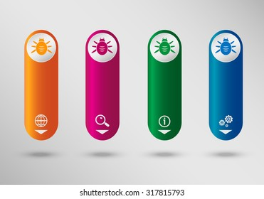 Bug icon on vertical infographic design template, can be used for workflow layout, web design.