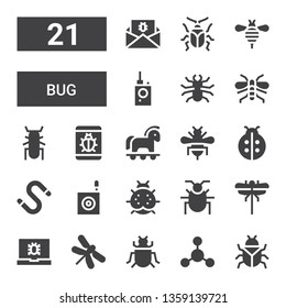 bug icon set. Collection of 21 filled bug icons included Bug, Bacterias, Insect, Dragonfly, Virus, Dragon fly, Beetle, Ladybird, Worm, Bee, Trojan, Wasp, detector, Malware