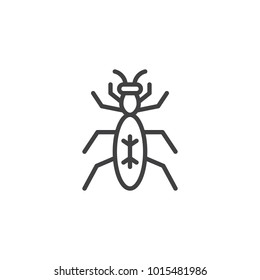 Bug insect line icon, outline vector sign, linear style pictogram isolated on white. Pismire termite symbol, logo illustration. Editable stroke