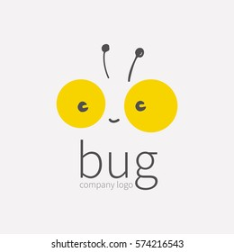 Bug logo, insect icon. Smiling cute little face beetle, Kawai, linear cartoon tipster. Symbol for company, for digital and print projects. vector illustration isolated on white background.
