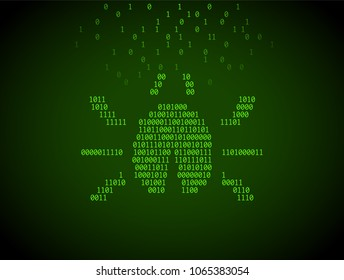Bug of numbers. Concept of cyber attack, virus, errors in code