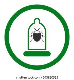 Bug Protection vector icon. Style is bicolor flat rounded symbol, green and gray colors, rounded angles, white background.