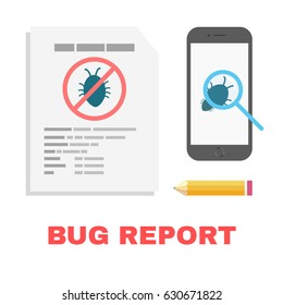 Bug report in QA mobile app testing. Software testing quality assurance, bug detection. Testing smartphone program application. Bug detection QA testing.
