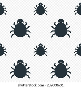 Bug sign icon. Virus symbol. Software bug error. Disinfection. Seamless grid lines texture. Cells repeating pattern. White texture background. Vector
