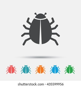 Bug sign icon. Virus symbol. Software bug error. Disinfection. Graphic element on white background. Colour clean flat bug icons. Vector