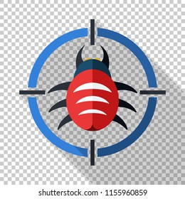 Bug target icon in flat style with long shadow on transparent background