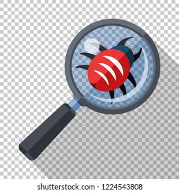 Bug under a magnifying glass. Concept of antivirus scanning icon in flat style with long shadow on transparent background