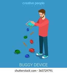 Buggy device debugging process flat 3d isometry isometric technology concept web vector illustration. Young man shake tablet PC bugs worm drop fall away. Creative people collection.