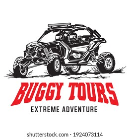 Buggy and UTV racing adventure vector illustration logo, perfect for tours and racing event logo also tshirt design