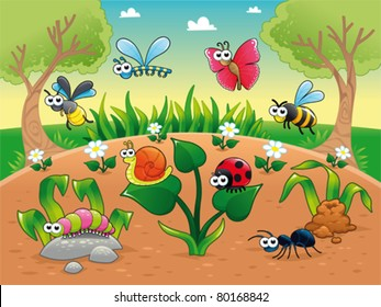 Bugs + 1 snail with background. Funny cartoon and vector illustration, isolated characters.