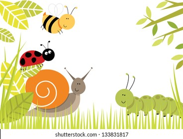 Bugs Border Cute bugs creating border including snail, ladybird, caterpillar and bee.